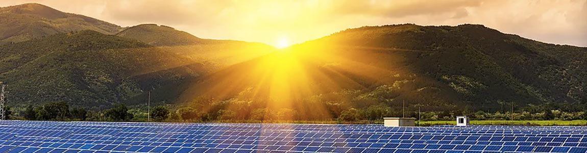 the sun rising over a solar farm